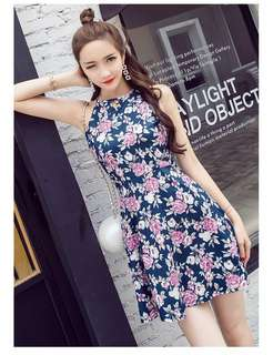 Floral Print Halter Dress 083534 FM