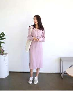 Pink dress v-shaped collar midi long chiffon dress skirt vintage retro style korean pretty beautiful #ramadan50