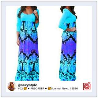 #01 📦 ▪ 🅿re🅾rder ▪ 📦S M L XL Summer New Womens 3/4 Sleeve Floral Print Evening Party Dresses Cocktail Casual Long Maxi Dress