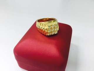18K YG Men's diamond ring
