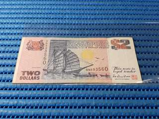 BN Singapore Ship Series $2 Note BN 593560 Replacement Dollar Banknote Currency TDLR