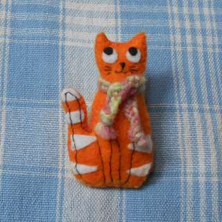 Orange and white cat pin/brooch with hand-woven scarf