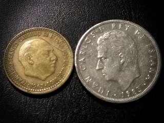 Spain 1963, 1983 1, 25 Pesetas Coin