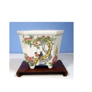 Antique rare porcelain flower bonsai pot hand painted circa early Century