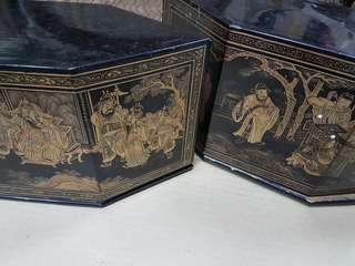 Vintage Peranakan black lacquer altar box and cover