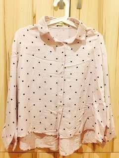 🚚 粉色圓點前短後長襯衫