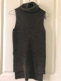 Khaki sleeveless turtleneck knit