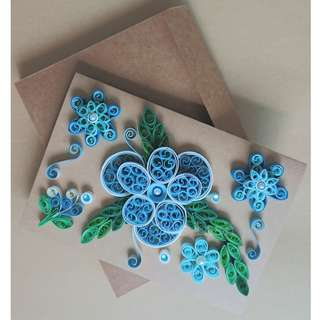 Quilled Blue Flowers Any Occasion Card