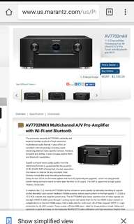 AV7702MKII Multichannel A/V Pre-Amplifier  with Wi-Fi and Bluetooth