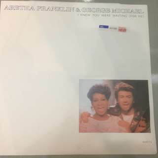 "Aretha Franklin & George Michael ‎– I Knew You Were Waiting (For Me), 12"" Single Vinyl, Epic ‎– DUET T2, 1987, UK"