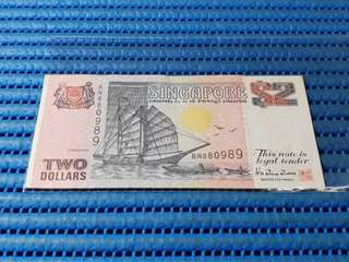 BN Singapore Ship Series $2 Note BN 880989 Nice Number Replacement Dollar Banknote Currency TDLR