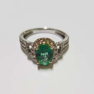 Diamond with Emerald Stone Ring