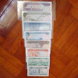 Orchid series set, $1000, $500, $100, $50, $25, $10, $5, $1 notes, 1ea.