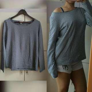 ESPRIT Oversized Striped Navy Blue Sweater [Large]