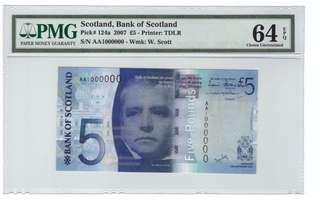 AA 1000000 2007 SCOTLAND 5 Sterling Pounds Super Solid No. PMG 64 EPQ