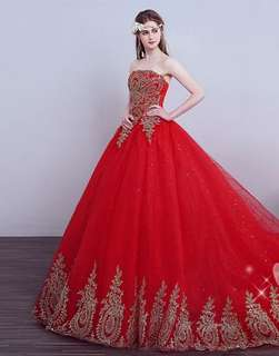 NEW bridal gown evening wedding dress dinner train red (Special Price) M to L