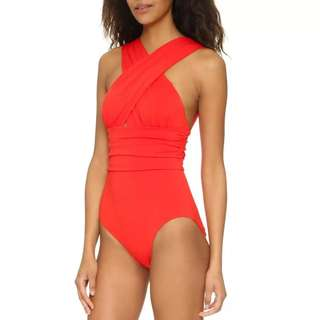 Red sexy cross one-piece swimsuit(new)
