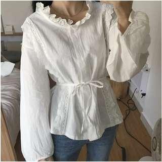 🚚 甜美寬鬆燈籠袖花邊領繫帶收腰棉麻襯衫