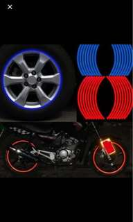 Car and Motorcycle Wheel Tyre Reflective Rim! 16 Strips!