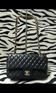 CHANEL LAMBSKIN DOUBLE FLAP QUILTED CHAIN BAG