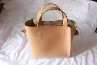 Peach leather tote bag