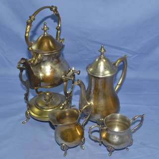 ANTIQUE NICKLE PLATED BRASS TEAPOT AND WARMER SET
