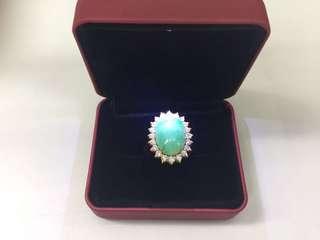 18K YG Jade diamond ring