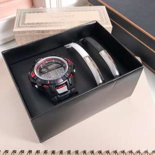 Avon gift set • philip digital watch and 2-piece usb cable bracelet set • with box • big sale / discount