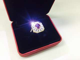 18K Red Ruby Diamond ring