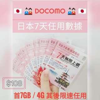 DoCoMo 日本7日高速上網卡 電話卡 數據卡
