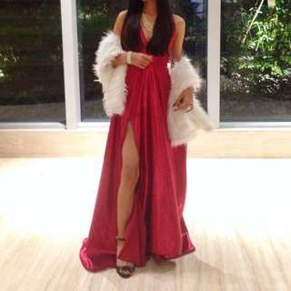 RED SATIN LONG GOWN FOR RENT