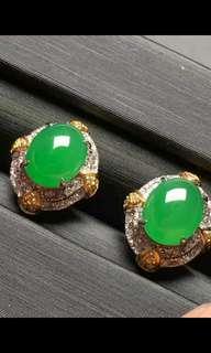 天然翡翠A貨18K金鑲嵌耳環