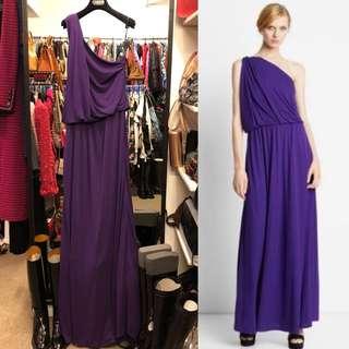 長身裙 Lanvin purple silk long dress evening gown