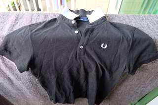 Fred perry black polo shirt size s