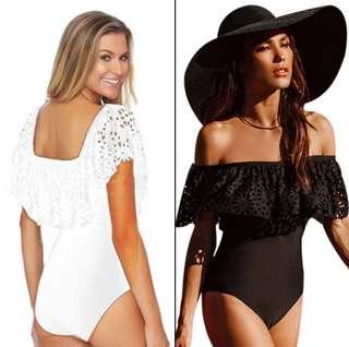▶️Weave 2-Wear Style Bikini One-piece Beach Swimsuit (Black)