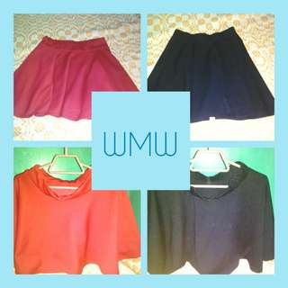 Stretchable Skirt Black And Red