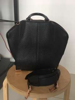ALEXANDER WANG Pebbled Leather Small Emile Soft Black With Rose Gold Hardware