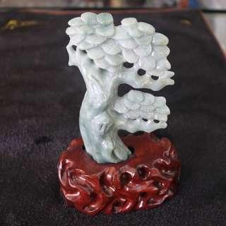 Type A Burmese Jade Jadeite Plant Display - 228.42g L82.0 W117.0 D26.0mm