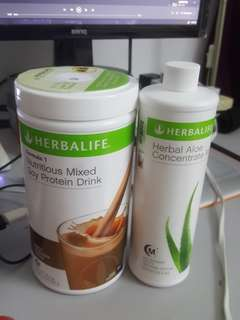 Herbalife F1 and aloe drink