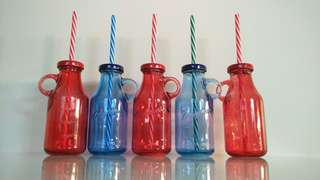 CUTE GLASS MILK BOTTLES
