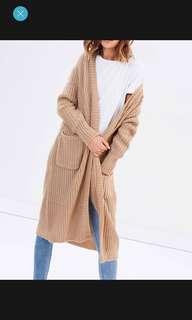 Long camel colour cardigan