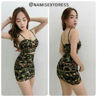 Camo sexy dress ; 2 pieces top and skirt