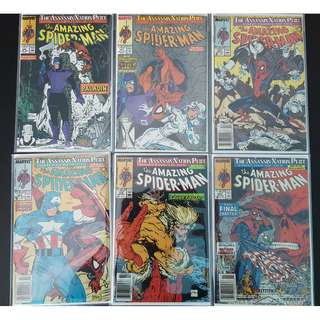 Amazing Spider-Man #320,#321,#322,#323,#324,#325 (1989, 1st Series) Set of 6, Todd McFarlane's Awesomeness! Guest-starring Paladin, Silver Sable!The Assassin Nation Plot!
