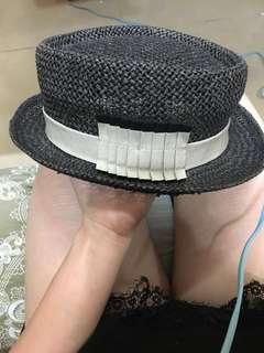 購自日本black straw hat mix gentleman with grey curtain details 草 紳士帽