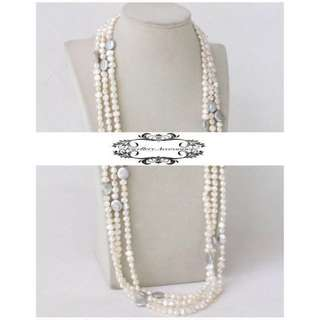 Genuine Lustrous Freshwater White Baroque Pearls with Metallic Silver Grey Coin Pearls Long Necklace  . 巴洛克不規則光亮白色真淡水珍珠配金屬銀灰色扁圓珍珠長項鍊