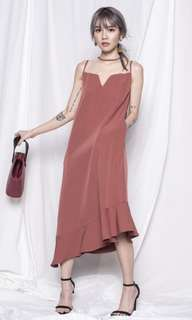 FLOAT ASY DRESS IN ROSE