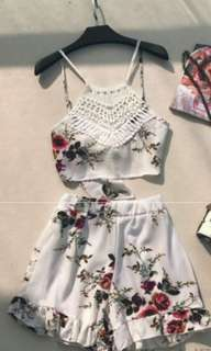 White lace halter top floral romper