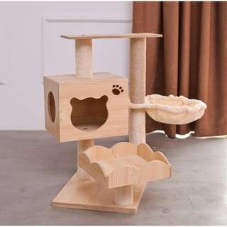 [Flash Deal] furniture wood CAT TREE WITH CAT SCRATCHER  CLIMBING HOUSE FOR CATS PLYWOOD & SISAL ROPE with hammock bowl