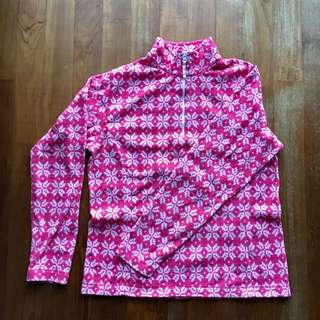 LandsEnd pink and white snowflake pattern fleece jacket with half zip