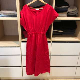 三件1000 全新 紅色棉麻洋裝